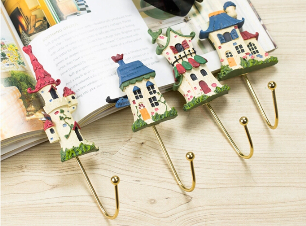 Iron wall coat hooks creative force American dream cabin porch resin decorative hooks