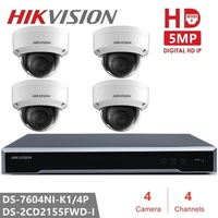 Original Hikvision H.265 4CH NVR Kit P2P 5MP Indoor Outdoor Dome Camera IR Night Vision IP Security Camera CCTV System