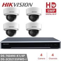 Original Hikvision H.265 4CH NVR Kit P2P 5MP Indoor Outdoor Dome Camera IR Night Vision IP Security Camera CCTV System