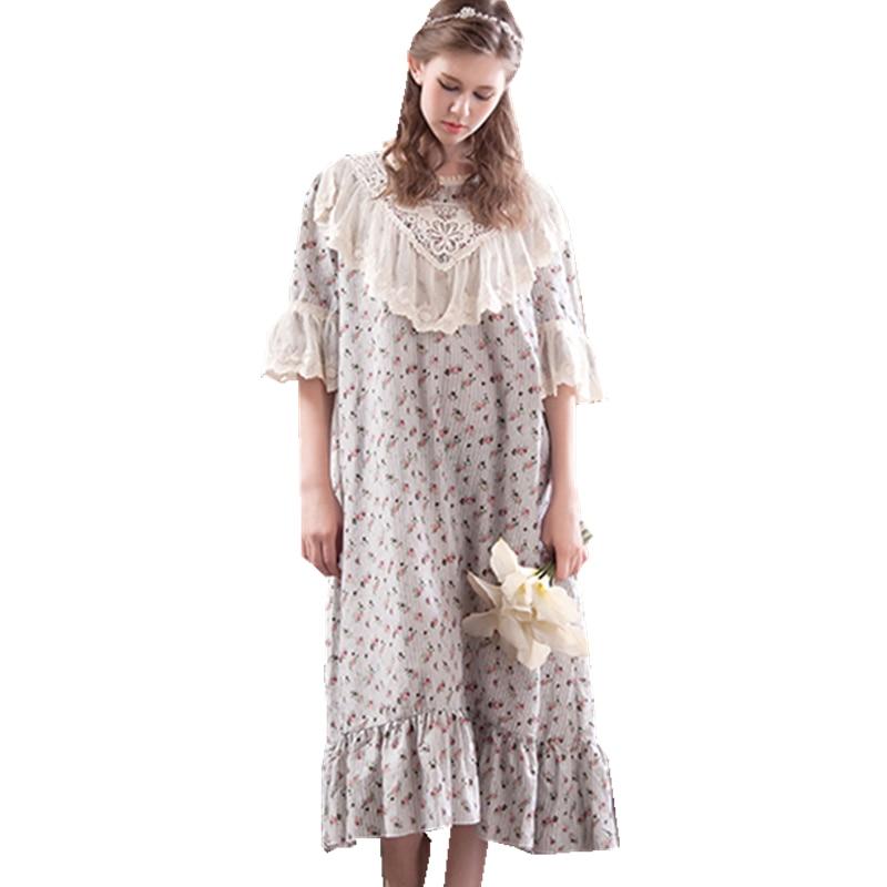 Sleepwear Women Vintage Dress Long   Nightgown     Sleepshirt   Sweet Princess Nightshirt Home Clothing For Bed Free Shipping