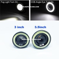 Free Shipping 2x Auto Accessory 3 Inch Led Fog Angel Eyes COB Halo Ring DRL Driving