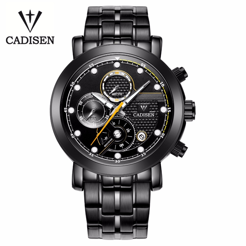 ФОТО Cadisen 3Atm Waterproof Complete Calendar Black Leather Army Men Watches Or Stainless Steel Band Quartz Movement Watch Military