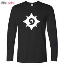 2017 Autumn and winter long Sleeve 100 % Cotton Hearthstone printing T Shirt Men Fashion t shirt Plus Size