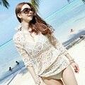 2016 Новая Женщина Sexy Beach Купальники Гавайцы Платье Бретели Бюстгальтера Пуловер Топы Крючком Старинные Blusas Бесплатная Доставка
