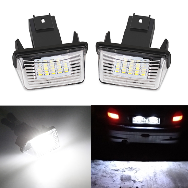 2pcs Error Free <font><b>LED</b></font> License Number Plate <font><b>Lights</b></font> Lamp Bright White For <font><b>Peugeot</b></font> 206 207 306 <font><b>307</b></font> 406 407 For Citroen C3 C4 Picasso image