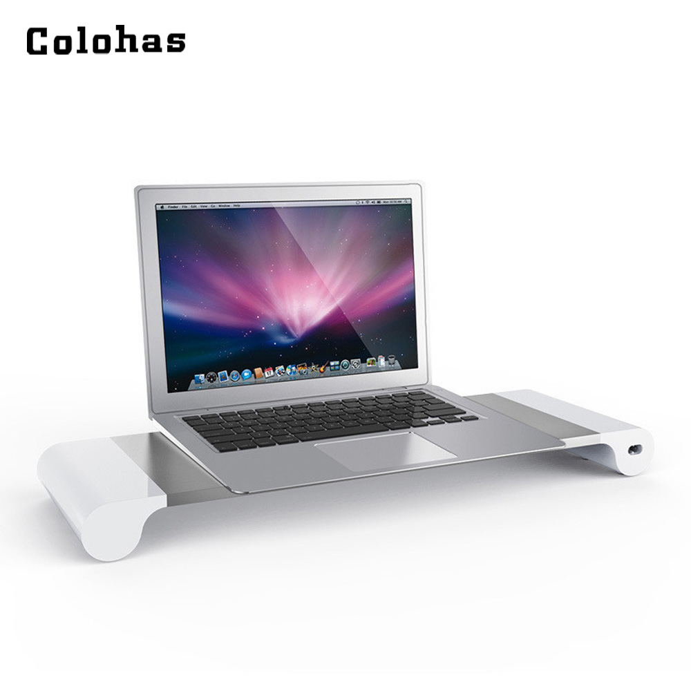 Laptop Stand With 4 USB Charging Ports Notebook Holder Aluminium Alloy Lapdesk Computer Monitor TV Mount EU/US/UK/AUS Plug