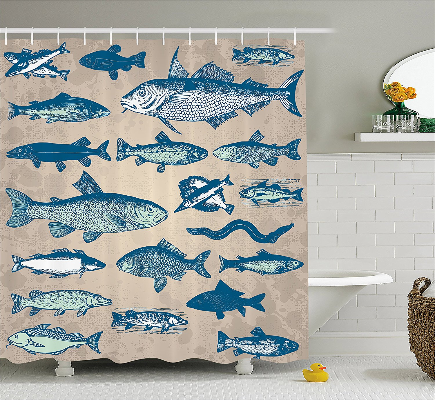 Us 14 17 38 Off Fish Shower Curtain Nautical Coastal Marine Decor Sea Creatures Tropical Prints Fishing Underwater Beach Bath Polyester Fabric In