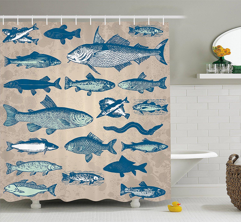 Us 14 17 38 Off Fish Shower Curtain Nautical Coastal Marine Decor Sea Creatures Tropical Prints Fishing Underwater Beach Bath Polyester Fabric In