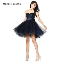Sexy Navy Blue Ball Gown Sweetheart Short Sequined Homecoming Dresses 2017 with Big Bow Girls Mini 8th grade Graduation Gowns