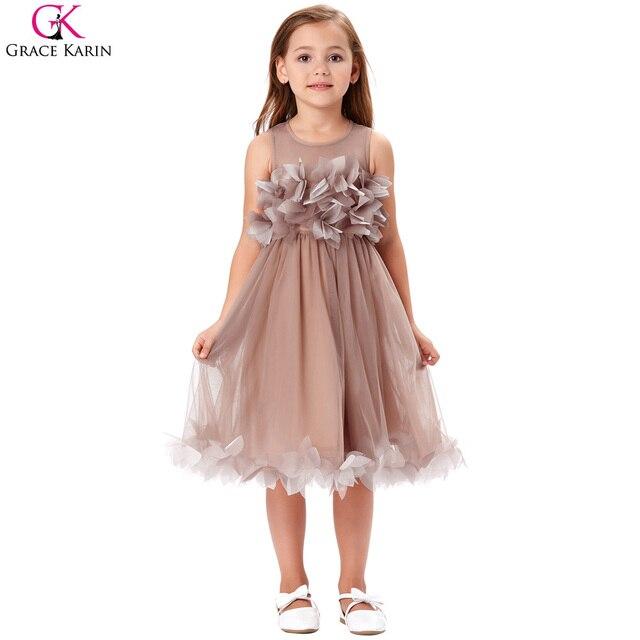 2017 Cute Floral Round Neck Zipper Ruffles Tulle Flower Girl Dresses for  Wedding Knee Length Sheer Back Girl Pageant Gowns 84976d9e7