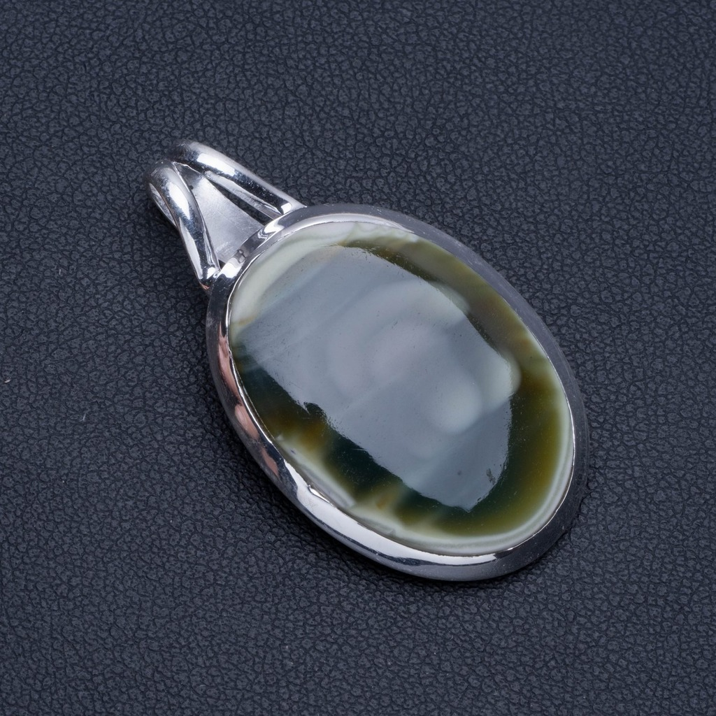 Natural Imperial Jasper Boho Style 925 Sterling Silver Pendant Necklace 1 1/2