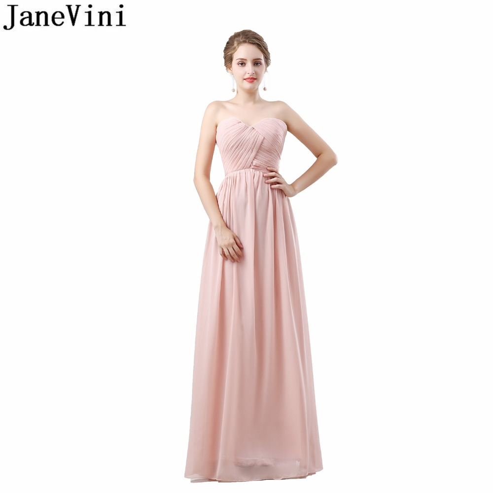 Affordable Wedding Guest Dresses: JaneVini Country Western Blush Bridesmaid Dresses Long
