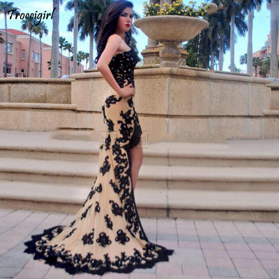 Princess Prom Dress Mermaid 2019 Elegant Women Champagne Evening Gowns Front Short Back Long Formal Lace Sexy Long Party Dresse in Evening Dresses from Weddings Events