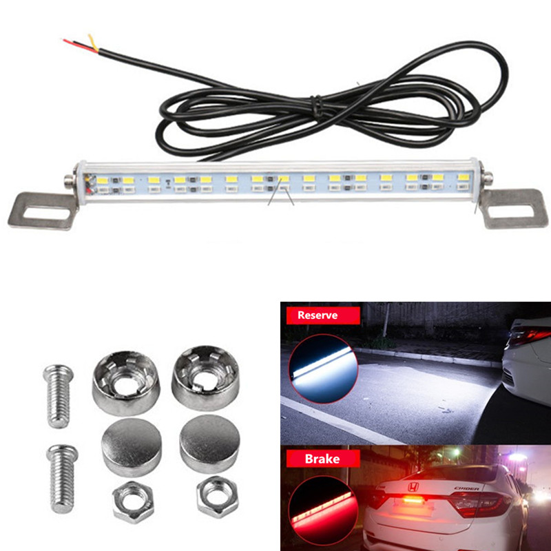 Waterproof 7W 30 LEDs Light Bar Backup Lights Tail Reverse Rear License Plate Lamp Parking 12v white and red Car Truck SUV 2pcs truck light 4 leds lamp