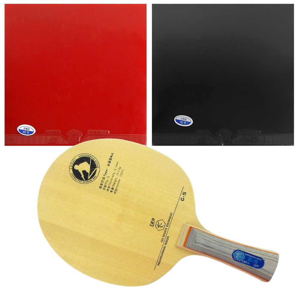 Pro Table Tennis (PingPong) Combo Racket: 729 C-5 Blade with 2x 729 Super FX Rubbers Long shakehand FL pro table tennis pingpong combo racket ritc729 v 6 blade with 2x transcend cream rubbers shakehand long handle fl