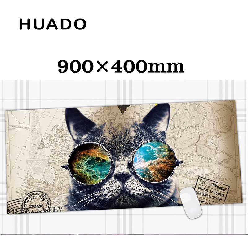 Cat Rubber Gaming Mouse Pad Mat Customizable Mouse pad Large Size 900*400mm for game & office work maikou mouse pad cat wears eyeglasses