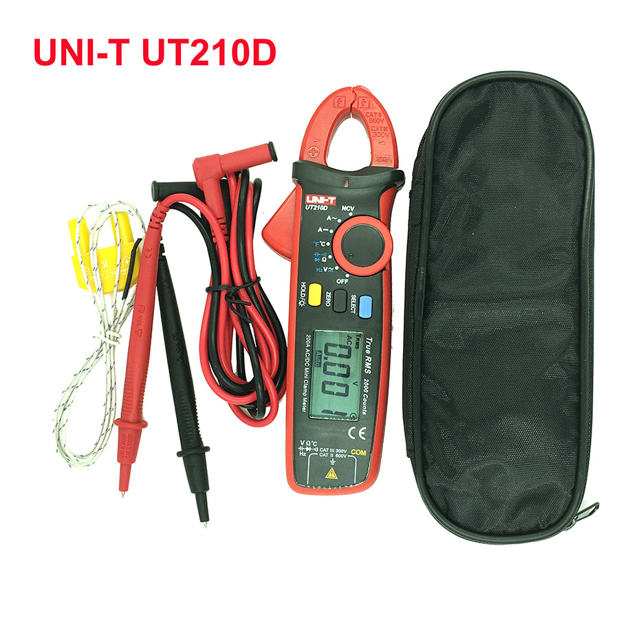 UNI-T UT210D auto range digital LCD clamp meter multimeter Ammeter voltmeter AC DC current voltage resistance tester 200A 600V