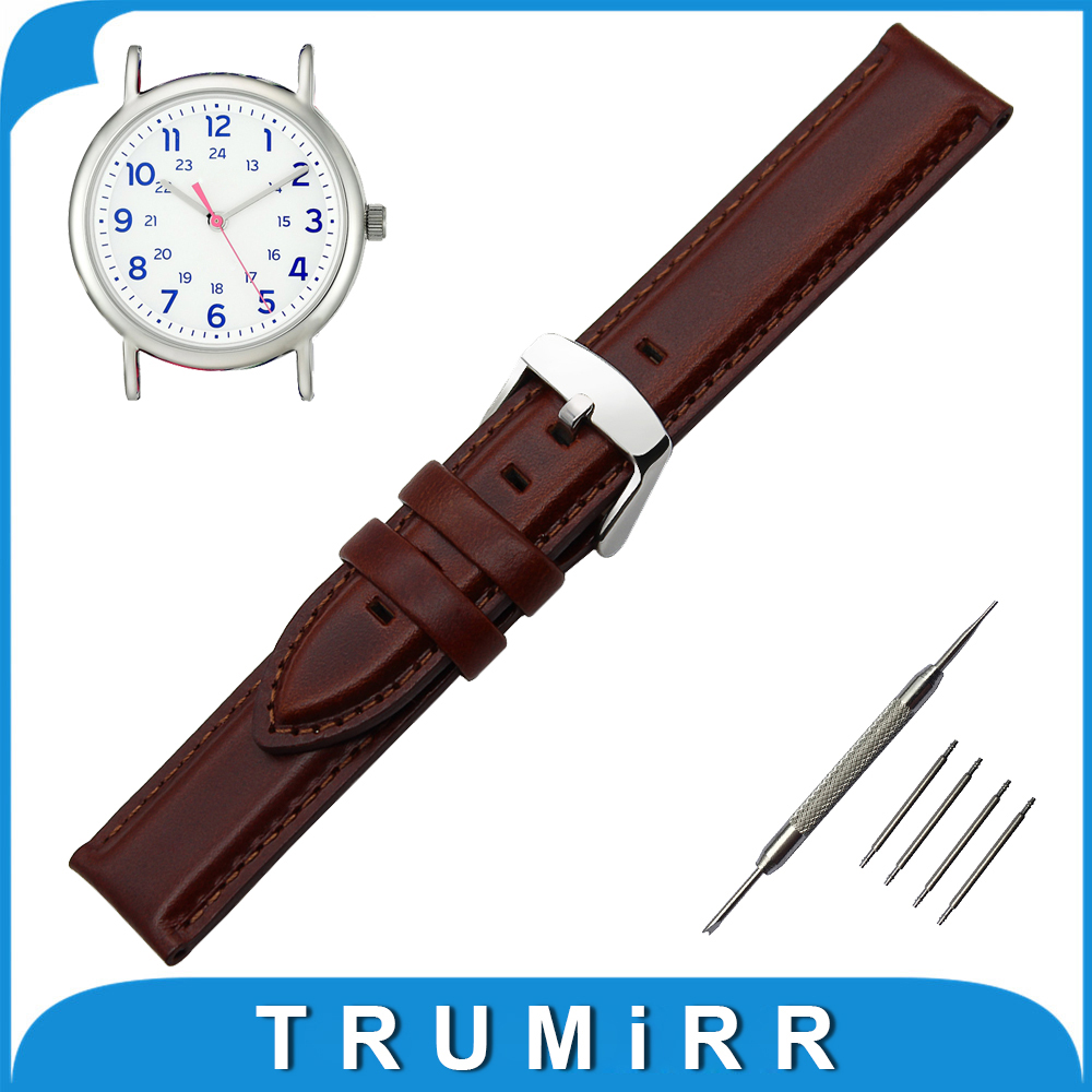 18mm 20mm First Layer Genuine Leather Watch Band for Timex Weekender Expedition Stainless Steel Buckle Strap Wrist Belt Bracelet timex часы timex tw4b03500 коллекция expedition