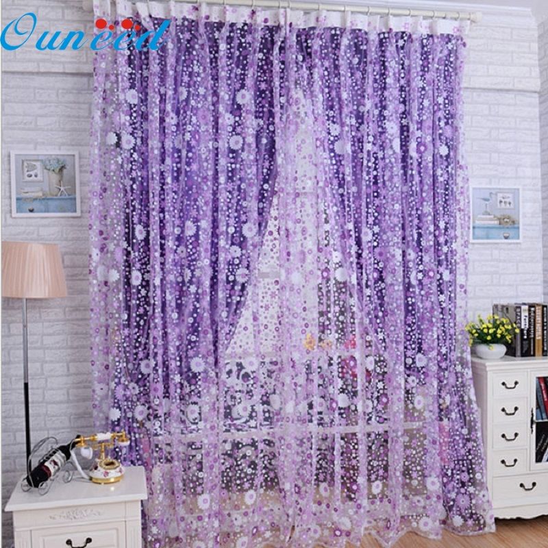 D3 Apr 19 2015 Print Floral Voile Door Sheer Window Curtains Room Curtain Divider 100X200CM