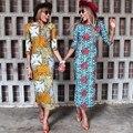 Весна осень 2016 Африканские платья для женщин dashiki анкара воск батик печати Три Четверти Рукав макси платье бесплатная доставка