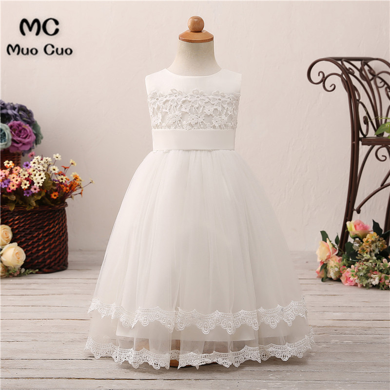 Puffy 2018 Ball Gown Lace first communion   dresses   for   girls   Appliques Lace kids evening gowns   flower     girl     dresses   for weddings