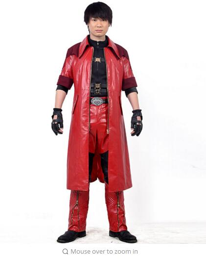 Devil May Cry 4 Dante cosplay costume Adult Fantasia Halloween Costume for men Leather jacket