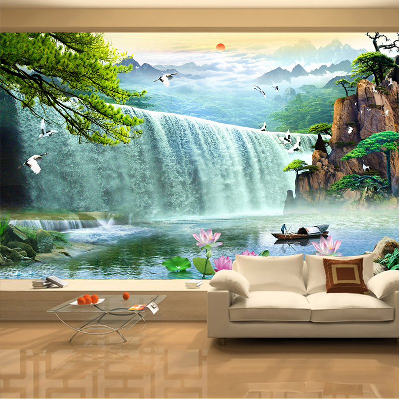 Papel de parede 3d paisagem waterfalls nature scenery for Scenery wallpaper for living room