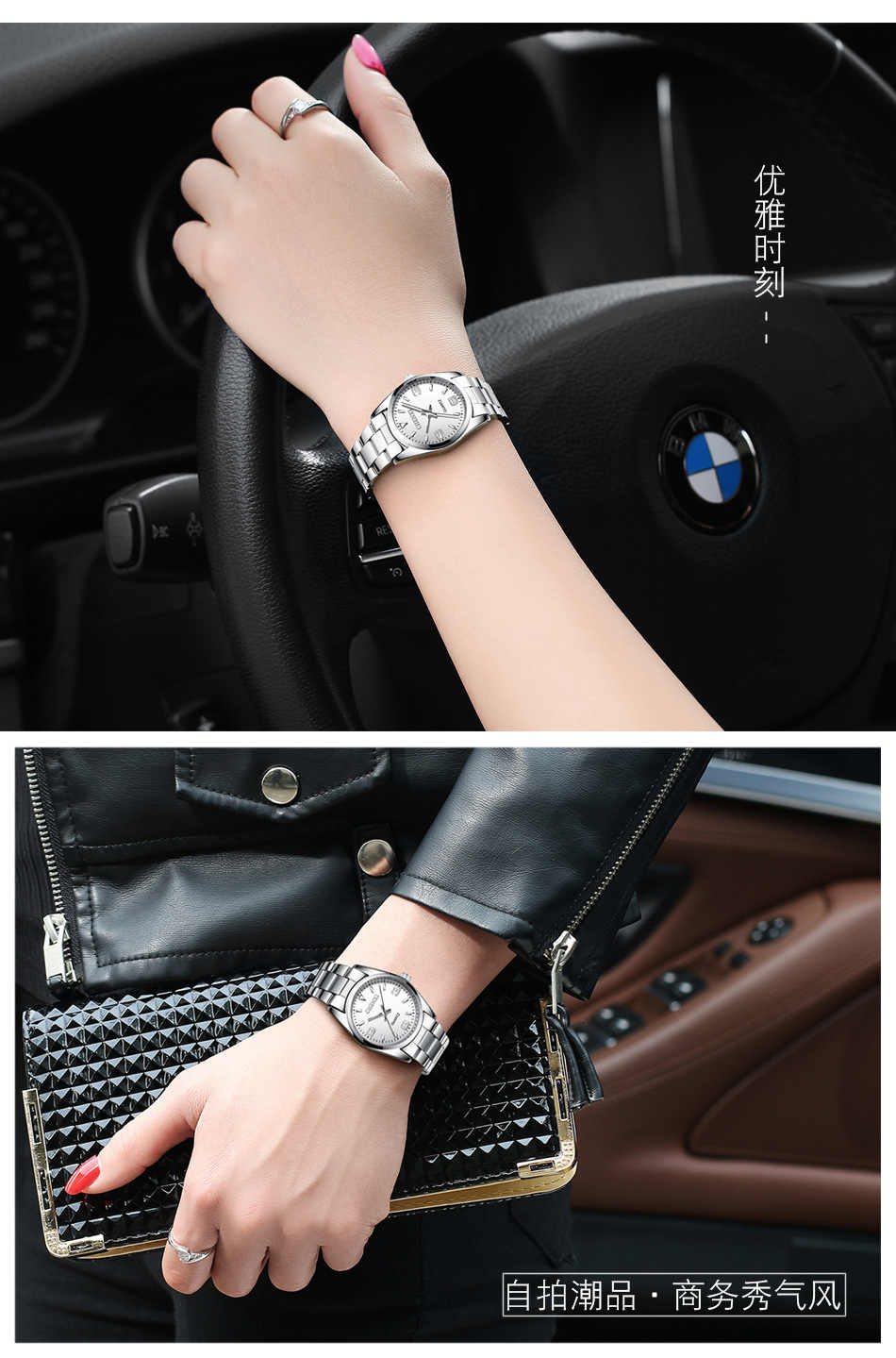 CHENXI Classic Pink Lady Watch Silver Stainless Steel Minimalism Elegant Lover Women Wristwatch Waterproof Business Female Clock
