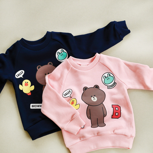New Arrival Autumn Sweater Set Head Cartoon Bear Children Boy Girl Leisure Hoodies Korea Cotton Long Sleeve Tshirt kids Clothes