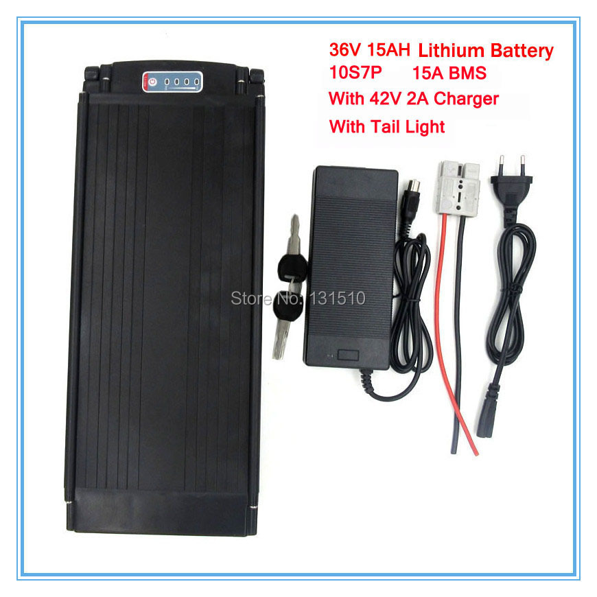 36V 500W Rear rack ebike battery 36V 15AH electric bike lithium Battery with Tail light use 2200mah 18650 cell 2A charger