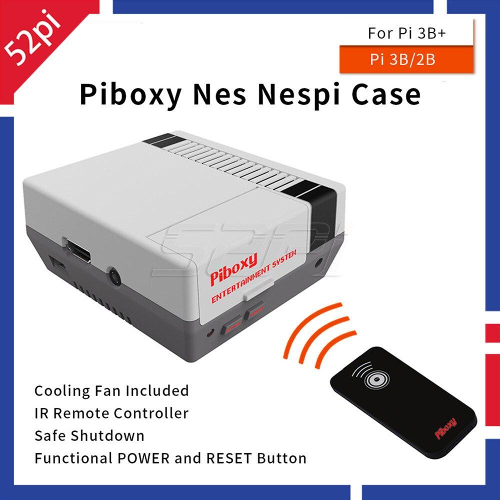 52Pi Piboxy NES NESPi Caso com Desligamento Botão De Reset Poder Ventilador De Refrigeração De Controle Funcional Remoto IR para Raspberry Pi 3B +/3B