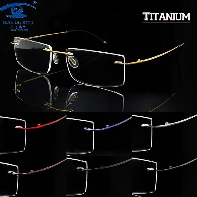 Sky & SEA OPTICAL óculos de titânio memória quadro homens óculos sem aro Frames oculos de grau Mens mulheres limpar lentes