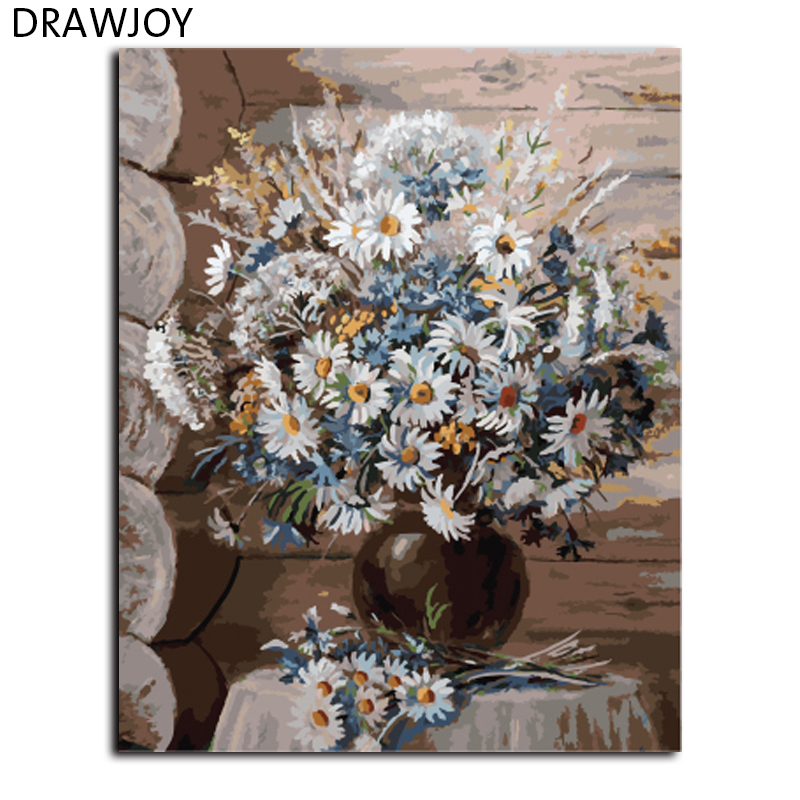 DRAWJOY Oil Painting Framed DIY Painting By Numbers Canvas Oil ...