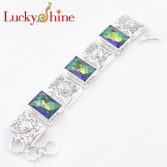 Promotion Luckyshine Fire Classic Square Fire Mystic Created Topaz Gems Silver Plated Chain Bracelets Russia Australia