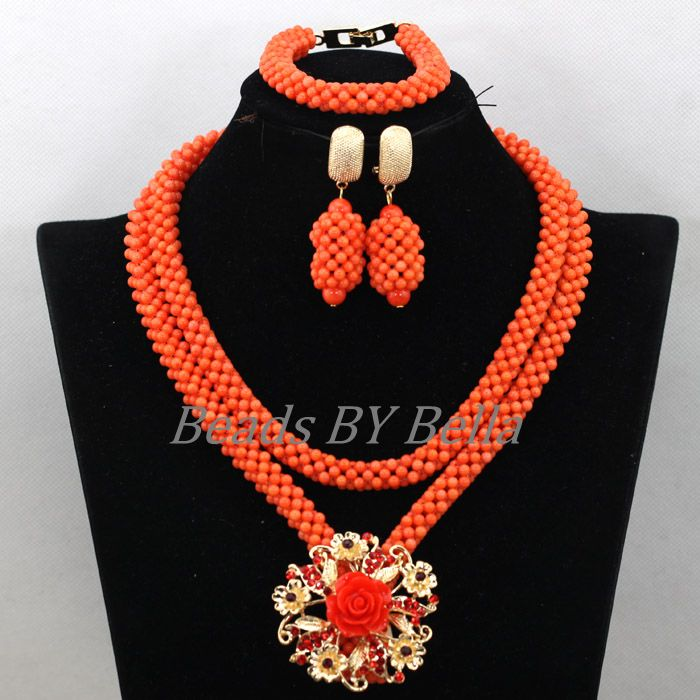 Trendy Coral Beads Nigerian Wedding Bridal Jewelry Sets New African Costume Jewelry Sets Statement Necklace Free Shipping ABK588