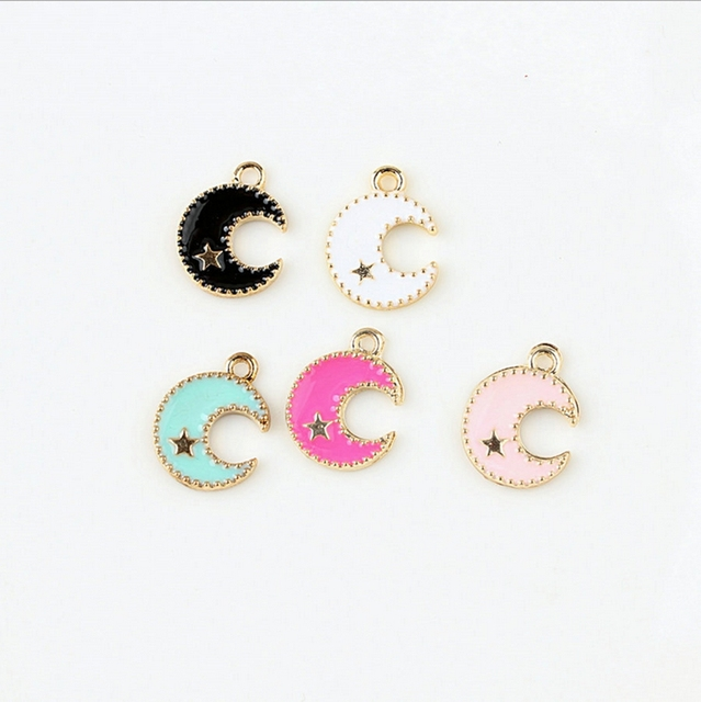 11 15mm Kawaii Moon Charm For Diy Bracelet Key Ring Jewelry Pendant Supplies Decoration