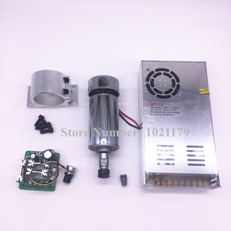 400W CNC spindle kit DC12-48V ER11 400W air cool spindle motor +DC48V power switch + ER11 collet chuck +  motor speed controller