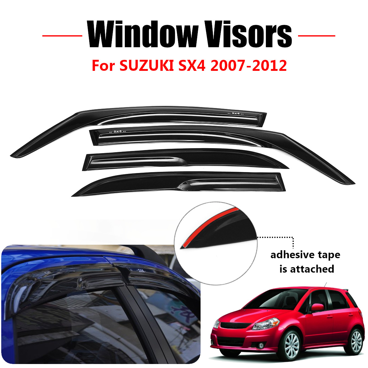 Sun roof /& Window Visor Wind Guard Out-Channel 5pcs For 2006-2011 Honda Civic