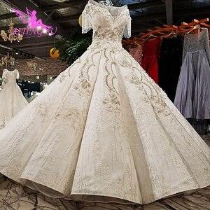 Image 1 - AIJINGYU 빈티지 Boho 웨딩 드레스 레이스 가운 정원 Frocks 2021 2020 독특한 복고풍 가운 공 웨딩 드레스 온라인 상점