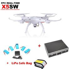 Free Shipping! White Syma X5SW Drone 2MP Wifi Cam+Lipo Bag+5* Battery+Carrying Case+Charger