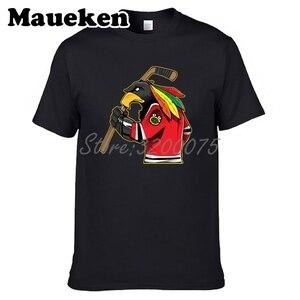Image 2 - Camiseta de manga corta de algodón con cuello redondo para hombres de Chicago Blackhawks Fans 100% W19031511