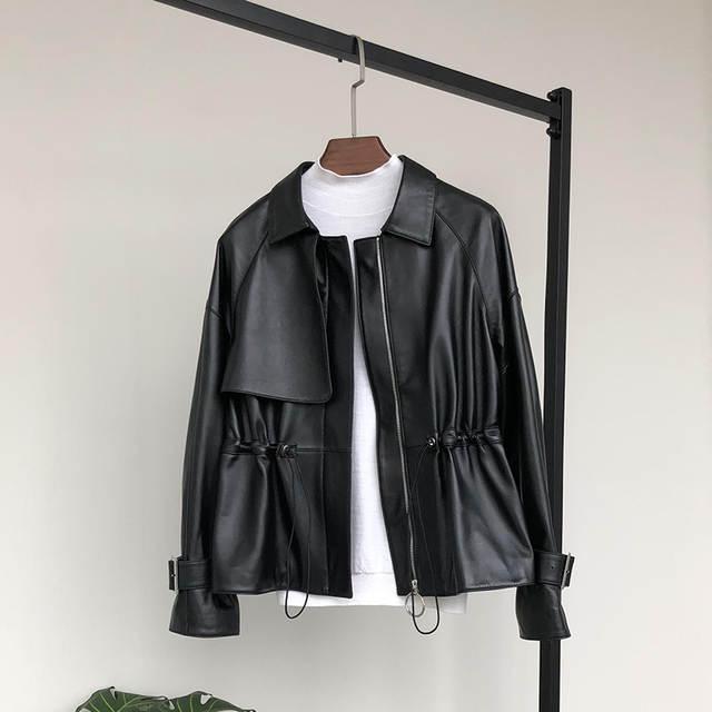 chaqueta de chaquetas plus cremallera pu mujeres 5xl manga de larga corto Nerazzurri 7xl 2019 casual negro cuello tamaño con 6xl plisado de las cuero P0k8nwOX