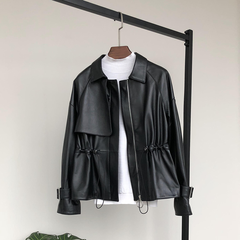 Nerazzurri   leather   jacket women 2019 plus size o-neck zipper casual jackets long sleeve 5xl 6xl 7xl black pleated short pu coat