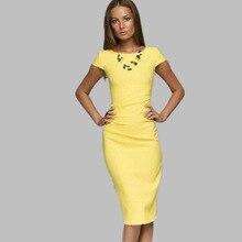 2016 yaz becah elbise bayanlar vestido vintage ofis İnce kalem elbise katı renk casual hanım giyim moda hanım elbise