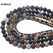 Wholesale Charm Coffee Striped Agate Brown Natural Stone Beads For Jewelry Making Diy Bracelet Necklace 4/6/8/10/12 MM Strand