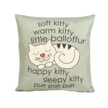 """חמוד חתלתול הדפסת כרית כיסוי Cartoon סגנון 45 ס""""מ * 45 ס""""מ ספה מותניים לזרוק כרית יד כיסוי עיצוב הבית"""