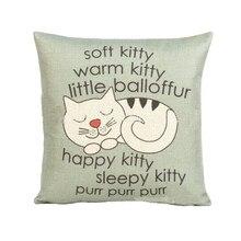 Funda de almohada con estampado de gatito bonito estilo de dibujos animados 45cm * 45cm funda de cojín para cintura de sofá hecha a mano decoración del hogar