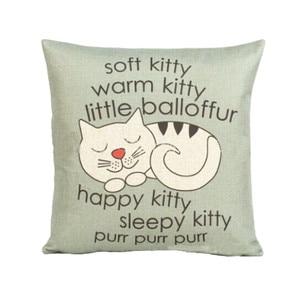 Image 1 - Funda de almohada con estampado de gatito bonito estilo de dibujos animados 45cm * 45cm funda de cojín para cintura de sofá hecha a mano decoración del hogar