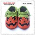 2016 Nueva Halloween Estilos zapatos del bebé primer caminante Del Niño del bebé mocasines de Cuero Genuino