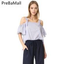 купить Summer New Style Fashion Sexy Tops Stock Bow Tie Women Butterfly sleeve Tank Tee Off shoulder tee shirt Top Clothing C147 по цене 866.9 рублей